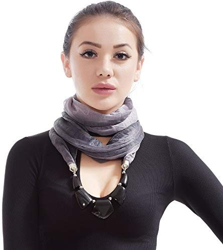 LERDU Women's Scarf Necklace Ladies Gift Idea Versatile Unique Pendant Scarfs Infinity Scarf with Jewelry Accessory