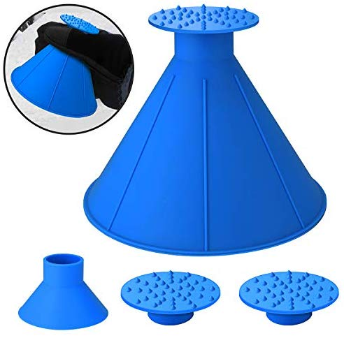 SEVENS Ice Scraper Round Car Window Windshield Cone -Shaped 6.8″ Larger Coverage Diameter Snow Ice Scraper Funnel Removal Tool with 3 Ice Breakers(Blue)