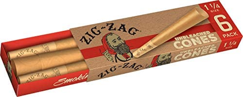 Zig-Zag Rolling Papers - Unbleached Pre-Rolled Paper Cones -Ultra Thin 1 1/4 Size - 6 Pack (18 Cones)