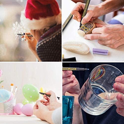 Metallic Marker Pens, XSG Set of 10 Colors Paint Markers for black paper,Rock Painting, Card Making,DIY Photo Album, Scrapbook Crafts, Metal, Wood, Ceramic, Glass (Medium tip)