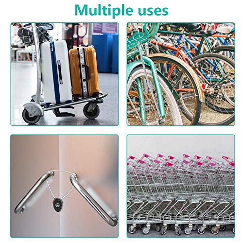 Luggage Cable Lock, Jhua 3 Digit Password Combination Bike Lock Mini Travel Padlock Safety Number Lock with 25 Inches Retractable Steel Wire for Luggage, Bike, Outdoor Anti Theft - Black