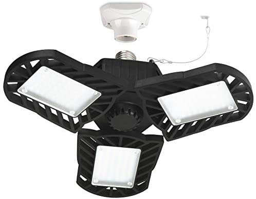 LED Garage Light,Deformable Triple Light - 60W 6000LM LED Ceiling Garage Lamp with 3 adjustable Aluminum Panels,Honesorn Bay Lighting for Garage, Warehouse,Shop, E26 Base, CRI>80 (No Motion Activated)