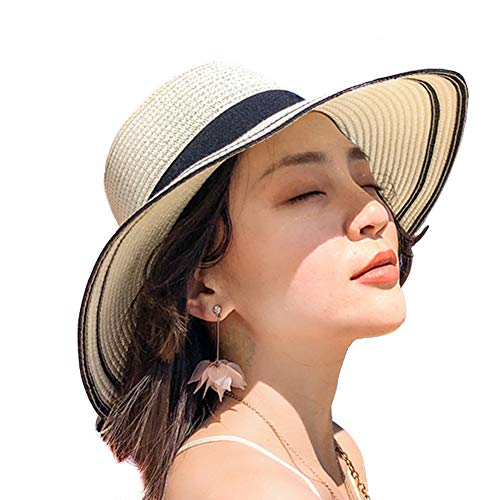 Women Foldable Sun Protection Straw Hat,Bowknot Outdoors Wide Brim Beach Cap 54-58cm