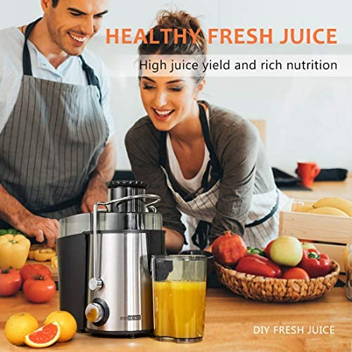 VIVOHOME Centrifugal Juicer Machine, 2-speed Juice Extractor with Safety Lock Arm, Overloading Protection