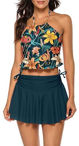 Maketina Women's Halter Two Piece Bikini Set Ruffle Beach Swimsuit with Skirt
