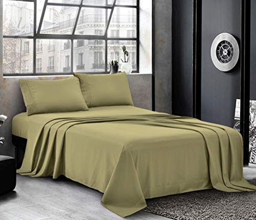 Hotel Luxury Bed Sheets - Cal King Sheet Set [4-Piece, Olive] - Sateen Weave, Premium Microfiber - Soft and Breathable - Deep Pocket Fitted Sheet, Flat Sheet, Pillow Cases