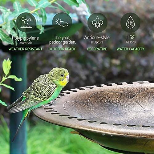"""VIVOSUN 2-in-1 Outdoor Garden Bird Bath with Flower Planter Base, Weather-Resistant Garden Décor, 28"""" High Copper"""