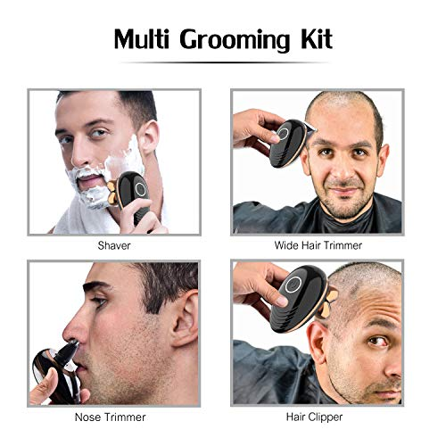 Surker Electric Razor for Men,Bald Head Shaver 5 In 1 Cordless Head Shaver Waterproof Mens Electric Shaver USB Rechargeable Grooming Kit with Nose Ear Beard Trimmer Hair Clipper&Face Cleansing Brush