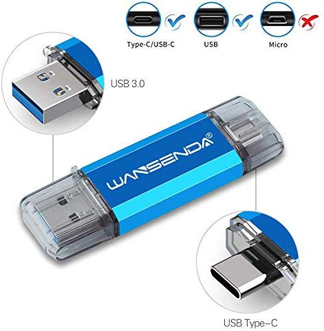 128GB Type C OTG USB C Flash Drive Wansenda 2 in 1 USB 3.0 & Type-C Thumb Drive for PC/Mac/USB-C Smartphones Samsung Galaxy S8/S8+/S9/S9+,Note7/8/9,A6S/A9S LG G6 V30, Google Pixel XL (Blue)