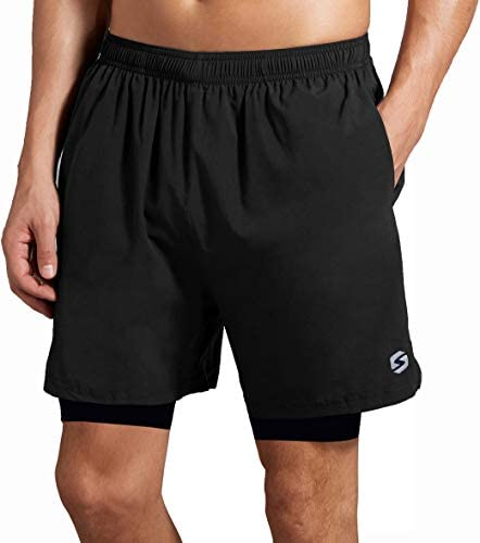 Men's 2 in 1 Running Athletic Shorts - Workout Gym Quick Dry 5 inch Shorts Back Zipper Pocket