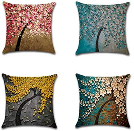 """Inshere Summer Theme Pillow Covers Pillowcases Hello Summer Throw Pillow Decorative Cushion Cover Cases 18"""" x 18"""" (Set of 4) (multicolor15)"""