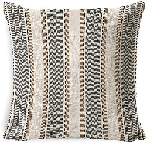 INSHERE 2 PCS Stripe Pillow Case Soft Linen Square Decorative Throw Cushion Cover Farmhouse Pillowcases for Sofa 18 x 18 Inch Grey