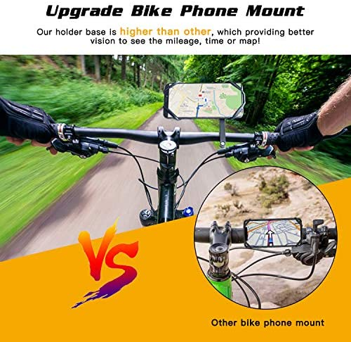 Bike Phone Mount, Upgrade Phone Holder for Bike, Adjustable Bike Cell Phone Holder, Detachable Silicone Phone Holder for Bicycle Stroller Cart Handlebar, fits iPhone, Samsung, Huawei, GPS