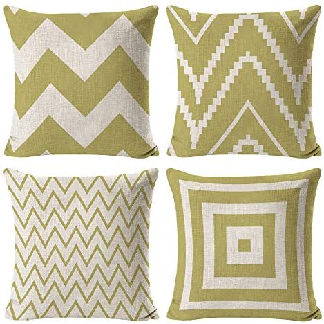 INSHERE Farmhouse 4 Pack Simple Green and Beige Geometric Wave Throw Pillow Covers Cases for Couch Sofa Bed Home Decor, Square Cotton Linen Cushion Cover 18 X 18 Inches