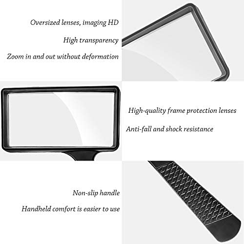 Rectangular Handheld Magnifying Glass (3X Magnification) – Scratch Resistant Glass Lens - Large Horizontal Viewing Area Ideal for Reading Small Prints & Low Vision