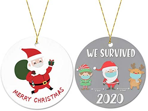 Christmas Ornament, Cute Masked Santa Claus Child Deer We Survived, Xmas Tree Hanging Decoration, Funny Ornaments Commemorative Ornament- 3 inch Circle Round Christmas Family & Friends Gift