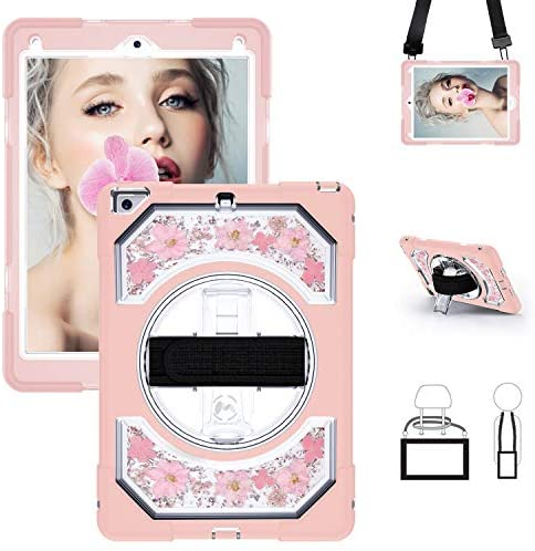 iPad 9.7 Case, 360 Degree Rotatable Stand Heavy Duty Shockproof Full Body Protective Case with Hand Strap Shoulder Strap for iPad 6th/5th Generation Case, Pink Flowers