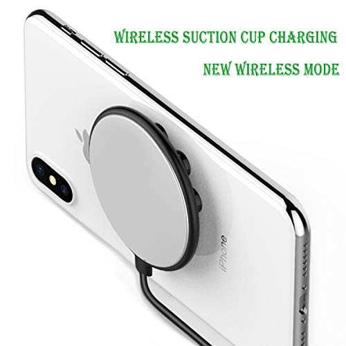 Wireless Charger,Fast Wireless Charging Stand New Suction Cup Qi WPC Standard auto-Exchange 10W and 5W Support All Mobile Phones with Wireless Charging Reception (Black)