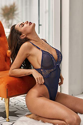 XAKALAKA Women Deep V Neck Lace Mini Bodysuit One Piece Teddy Babydoll Lingerie