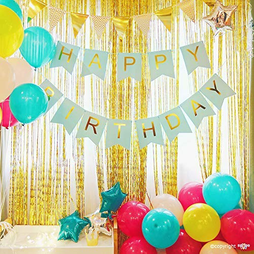 ZZIIEE Birthday Party Decorations Kit, includes Sky Blue Happy Birthday Banner, Multicolor Balloons, Golden Metallic Tinsel Foil Fringe Curtains, Bunting Pennant Flags, Party Supplies for Kids Adults.