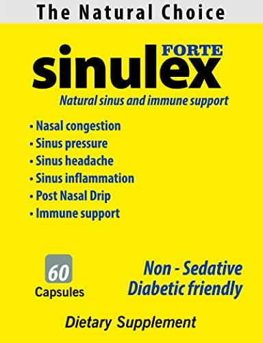 Sinulex Forte - Natural Remedy for Sinus & Colds Relief | 60 Capsules | 1 Month Supply | Fast Acting - Works Within 30 Minutes | Non-Drowsy | Herbal Decongestant