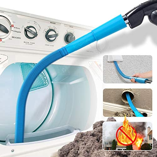 Holikme Dryer Lint Vac Attachment,Dryer Vent Cleaner Kit ,Vacuum Hose Attachment Brush,Lint Remover,Blue