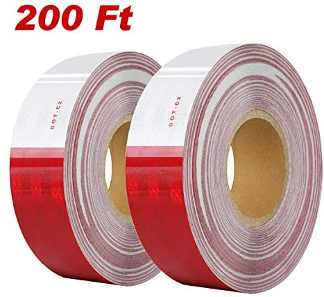 "DOT-C2 Reflective Safety Tape 2"" x 200' Red/White Conspicuity Tape for Vehicles, Trailers, Boats, Signs"