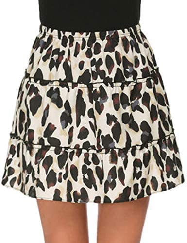 Women's Leopard Print Mini Skirt High Waist A-Line Skirt Layer Ruffle Hem Short Skirt