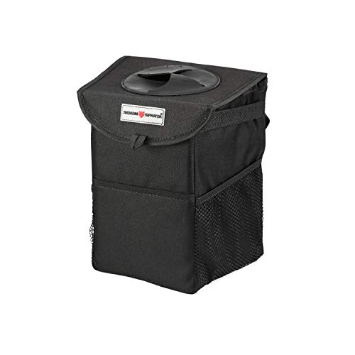 "Seven Sparta Car Trash Can with Lid and 3 Storage Bag Hanging for Headrest with Strap Car Waterproof Seat Garbage Bag (9 1/2"" H x 8"" W x 6"" D)"