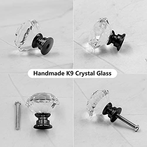 KDO 10 Pack Drawer Knobs Pull Handle Crystal Glass Diamond Shape Transparent 30mm Kitchen Cabinets Dresser Cupboard Wardrobe Pulls Handles