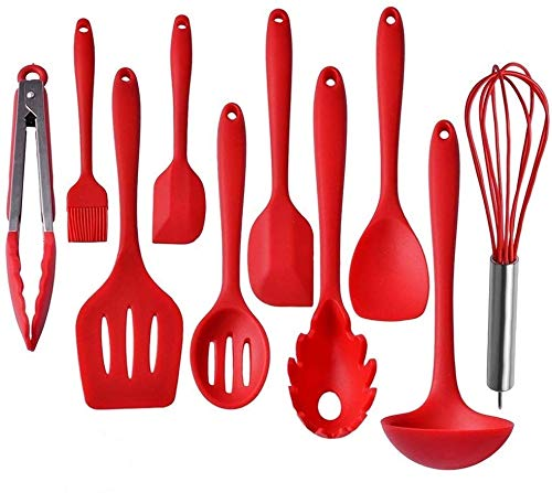 Kitchen Utensils, Silicone Heat-Resistant Non-Stick Kitchen Utensil Set Cooking Tools 10+1 Piece,Turner, Whisk, Spoon,Brush,spatula, Ladle Slotted turner, Tongs, Pasta Fork and Spoon Rest (red)
