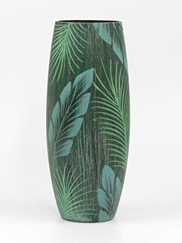 Bright Stroke 11.8 Inch Tall Round Hand Painted Decorative Glass Vase with Tropical Leaf Polynesian Design