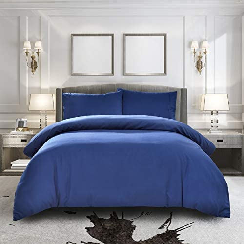 Pure Bedding Duvet Cover Queen [3-Piece, Navy] - 1 Comforter Protector with Zipper Flap and 2 Pillowcases - Hotel Luxury 1800 Brushed Microfiber - Ultra Soft, Cool and Breathable Comforter Cover
