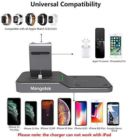 Mangotek Apple Watch Stand Wireless Charger for iPhone and iWatch, 4 in 1 Charging Station with Lightning Connector and USB Port for iPhone 11/11 Pro/X/XR/XS/8 and iWatch Serie 5/4/3/2/1 MFi Certified