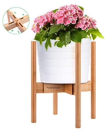 VIVOSUN Plant Stand Indoor Bamboo Adjustable Flower Pot Holder Fits Pot Size of 8-12 inches (Pot & Plant Not Included)
