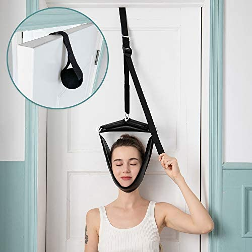 Cervical Neck Traction Device Portable Over Door Device for Neck Pain Relief, Overhead Traction Stretcher Home Physical Therapy for Arthritis, Disc Bulges and Spinal Decompression