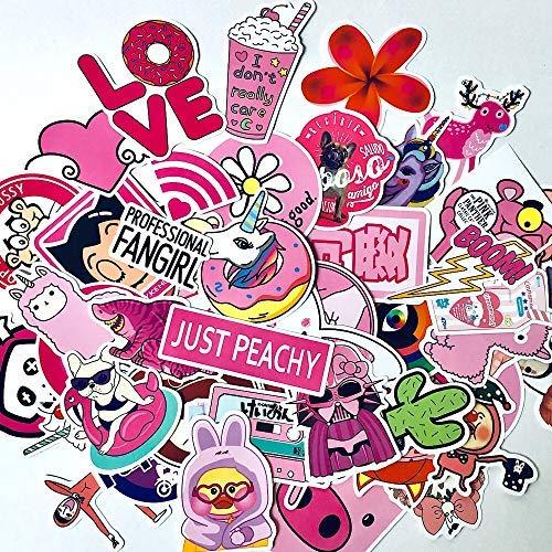 50 Pcs VSCO Hydroflask Stickers Waterproof Vinyl Sticker for MacBooks, Phone, Helmets, Skateboard, Bike Perfect for Teens, Girls, Adults, Kids-Cute, Funny, Lovely, Pink