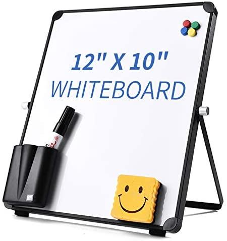 "12"" x 10"" Small Dry Erase Board Whiteboard Desktop Portable Mini White Board Desk Easel 360°Rotation for Office,Home,School"