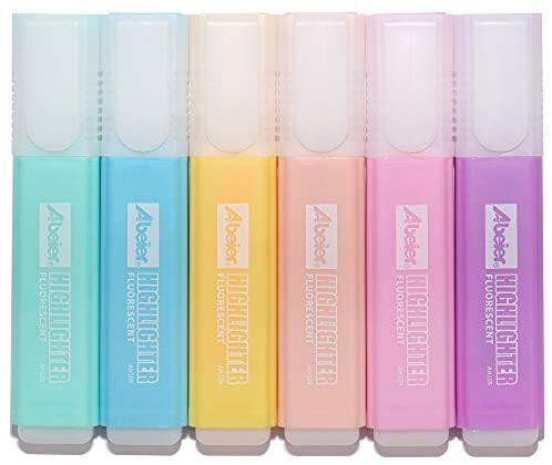 Pastel Colors Highlighter, 6 Assorted Macaron Colors, Chisel Tip Marker Pen, Water Based, Quick Dry, Eye Protection, For Adults & Kids, Extra Long Marking Performance