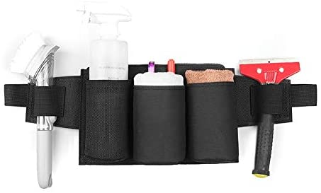 DricRoda Tool Pouch, Waist Tools Bag Belt, Bottle Holster, Heavy Duty Working Tool Apron for Janitorial, Custodial, Housekeeping, Public Area Cleanup, 6 Pockets, 2 Scraper Brush Loops