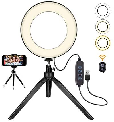 Ring Light with Stand 7.9inch Selfie Ring Light with Tripod Stand and Phone Holder, Desktop LED Ring Light with 3 Modes and 11 Brightness for YouTube Video/Live Stream/Makeup