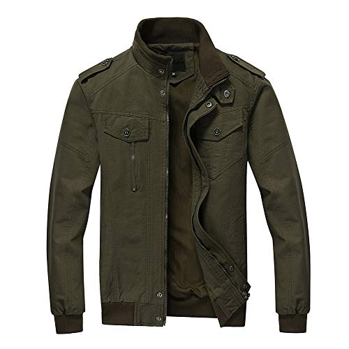 FEDTOSING Mens Military Jacket Stylish Windbreaker Stand Collar Bomber Jacket with Shoulder Straps