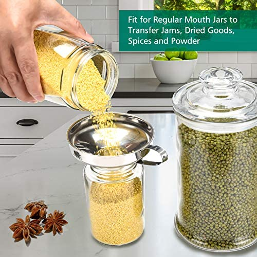 Canning Funnels with Jar Lifter, Canning Kit Supplies, Stainless Steel Kitchen Food Wide Mouth Funnel with Canning Tongs Tools for Mason Jar Large Regular