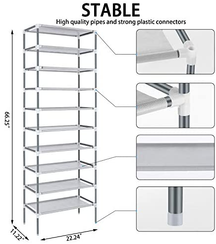 10 Tiers Shoe Rack Easy Assembled Free Standing Shoe Rack Storage Organizer for Home, Dormitory, Office