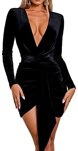 Women Sexy Bodycon Velvety Dress - Fully Sleeves Black Silm Fit Mini Length Party Dresses for Women's