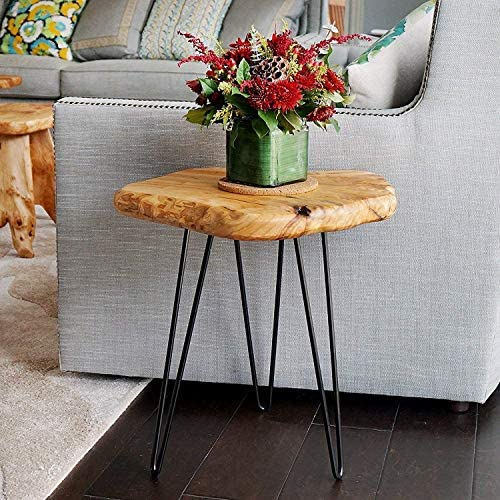 """NXN-HOME Natural Edge Side Table, Live Edge End Table with 3 Hairpin Legs, Nightstand Plant Stand for Bedroom and Living Room(15.5"""" L x 14.5"""" W x 16"""" T.)"""