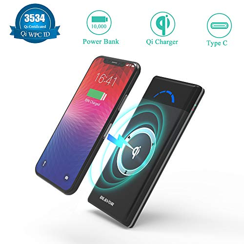 BLAVOR Wireless Power Bank 10,000mAh, Portable Wireless Charger Qi Power Bank Compatible with iPhone 8/8plus/X All Qi-Enabled Devices, 5V 2.1A Phone Battery Charger Type C Port LCD Screen
