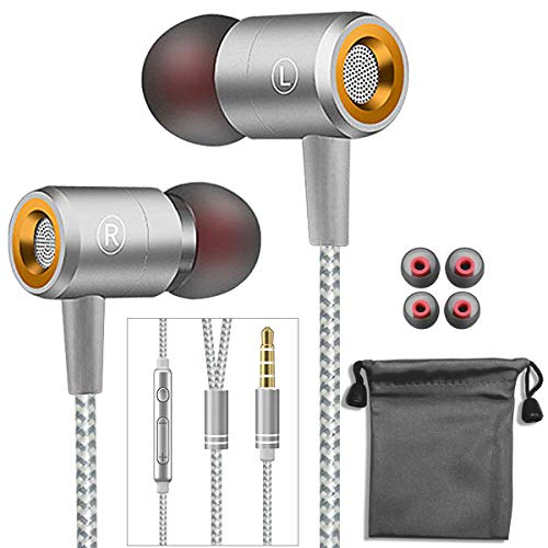Earphones,in-Ear Earbuds Headphones Wired Headphone Metal Earbuds Noise Cancelling Stereo Heave Bass Earphones with Micphone Mic for Phone,Pad,Pod,Samsung Galaxy,MP3 Players,Nokia,HTC,Nexus and Tablet