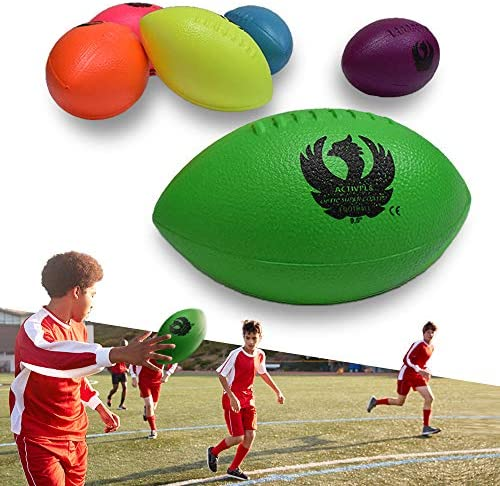 Football Set, High Durability, Coated Neon Foam Ball Safe and Fun for Kids and Adults in Playground and Indoor, 9.5 Inch