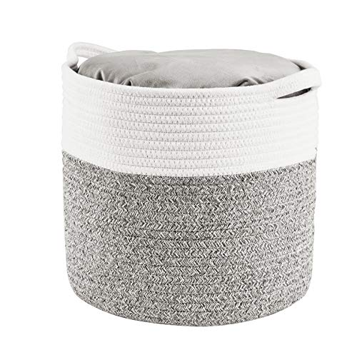 HITSLAM Woven Rope Basket with Handles, Collapsible Laundry Basket, Cotton Storage Basket for Towels Blanket Toys (Gray) - M